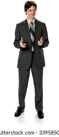 Friendly Caucasian man with short dark brown hair in business formal outfit makes finger gun - Isolated