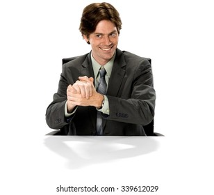 Friendly Caucasian man with short dark brown hair in business formal outfit with clasped hands - Isolated
