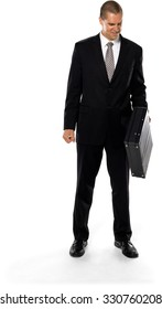 Friendly Caucasian man with short medium brown hair in business formal outfit holding briefcase - Isolated