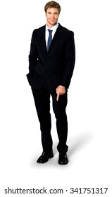 Friendly Caucasian man with short medium blond hair in business formal outfit with hands in pockets - Isolated