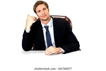 Friendly Caucasian man with short medium blond hair in business formal outfit pointing at self - Isolated