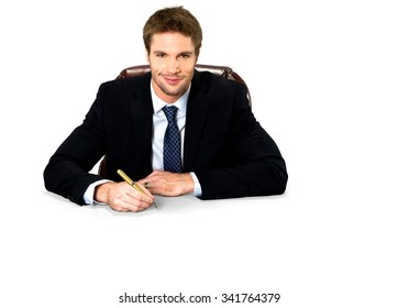 Friendly Caucasian man with short medium blond hair in business formal outfit using office chair - Isolated
