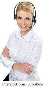 Friendly Caucasian woman with light blond hair in business casual outfit using headset - Isolated