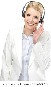 Friendly Caucasian woman with light blond hair in business formal outfit using headset - Isolated