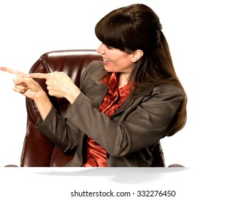 Friendly Caucasian woman with long dark brown hair in business formal outfit pointing using finger - Isolated