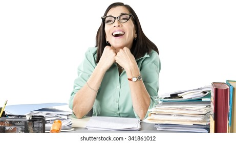 Friendly Caucasian woman with medium dark brown hair in business casual outfit laughing - Isolated