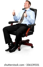 Friendly Caucasian young man with short medium brown hair in business formal outfit sitting in chair and giving thumbs up - Isol