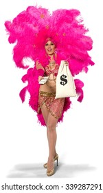 Friendly Caucasian young woman in costume holding money - Isolated