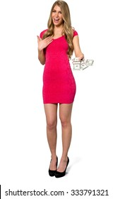 Friendly Caucasian young woman with long light blond hair in evening outfit holding money - Isolated