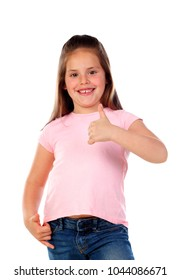 Friendly child saying Ok with her thumbs isolated on a white background