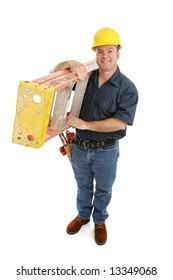 Friendly construction worker carrying a ladder over his shoulder.  Full body isolated on white.