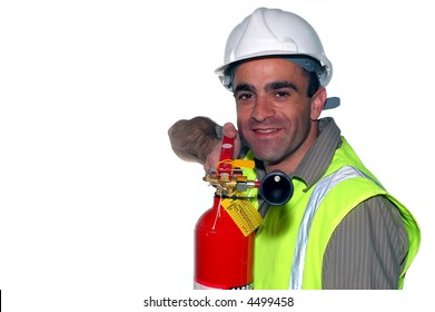 friendly construction worker with fire extinguisher