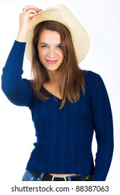 A friendly country girl with a cowboy hat and a pretty smile. 0549865fd2c1