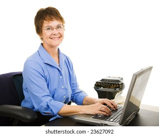 Friendly court reporter typing court transcripts into her computer.  Isolated on white.