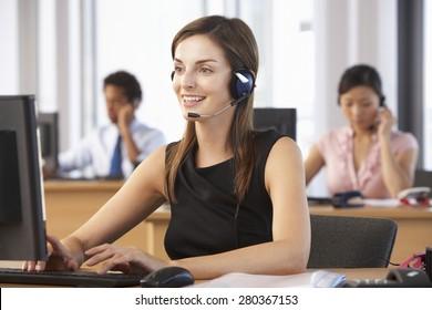 Friendly Customer Service Agent In Call Centre