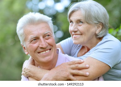 friendly elderly couple spending time together