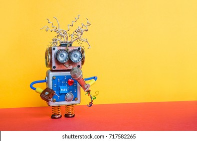 Friendly entertainer robot with microphone. Music lecture performance poster design. Smiley face cyborg toy, yellow wall red ground decoration background