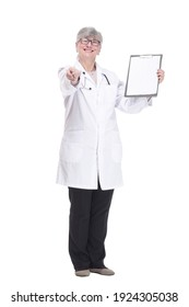friendly female doctor with clipboard. isolated on a white background.