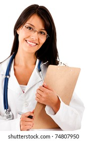 Friendly female doctor with a clipboard - isolated over white
