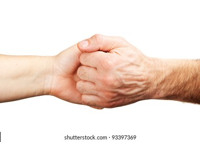 friendly gesture with hands isolated on a white background