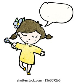 friendly girl with speech bubble cartoon