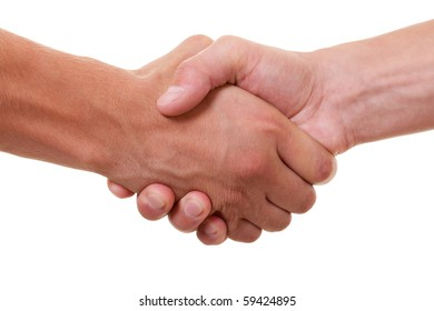 friendly handshake on white background