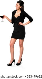 Friendly Hispanic young woman with long dark brown hair in casual outfit holding wine glass - Isolated