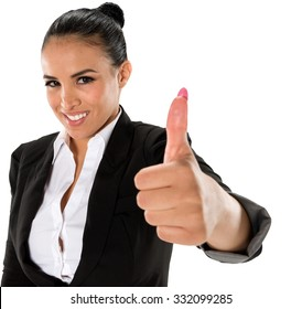 Friendly Hispanic young woman with medium dark brown hair in business formal outfit giving thumbs up - Isolated