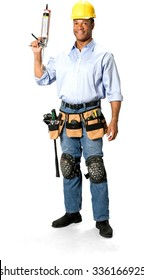 Friendly Male Construction Worker with short black hair in uniform holding silicone glue gun - Isolated