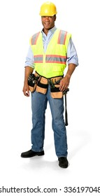 Friendly Male Construction Worker with short black hair in uniform - Isolated