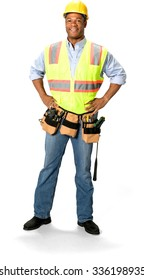 Friendly Male Construction Worker with short black hair in uniform with hands on hips - Isolated