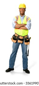 Friendly Male Construction Worker with short black hair in uniform with arms folded - Isolated