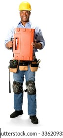 Friendly Male Construction Worker with short black hair in uniform holding tool set - Isolated