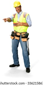 Friendly Male Construction Worker with short black hair in uniform laughing with hands on stomach - Isolated