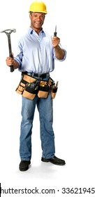 Friendly Male Construction Worker with short black hair in uniform holding hammer - Isolated