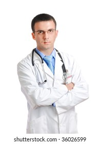 Friendly medical doctor with stethoscope. Isolated over white background