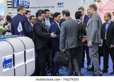 Friendly meeting of a group of businessmen. St. Petersburg, Russia - 3 October, 2017. Participants and visitors of the annual St. Petersburg Gas Forum.