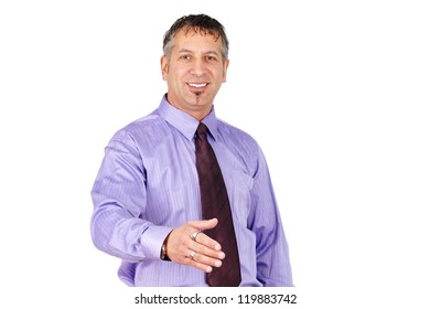 Friendly middle age man, can be salemans or professionnal, smiling and ready to shake hand.