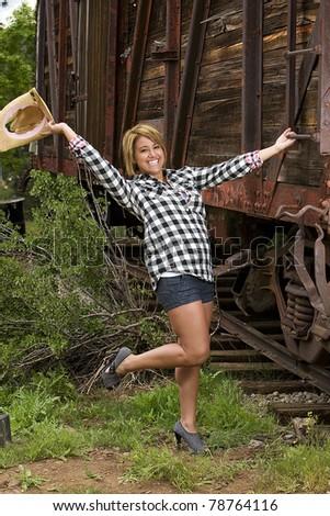 Friendly Nice Country Girl Waving Cowboy Stock Photo (Edit Now ... e0791c63edd3