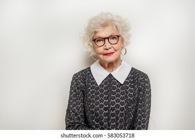 Friendly old woman expressing positive emotions
