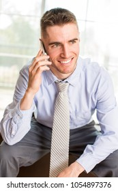 Friendly professional business man phone call
