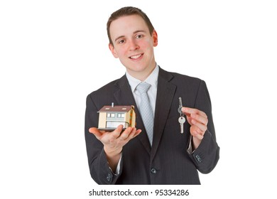 Friendly real estate agent isloated on white background