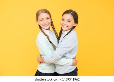 Friendly relationship. Friendship goals. Cute school girls classmates. Cheerful mood concept. My dear friend. First school day. Sisterhood and friendship. School friendship. Support and friendship.