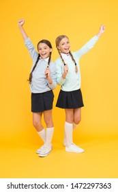 Friendly relationship. Friendship goals. Cute school girls classmates. My dear friend. First school day. Sisterhood and friendship. Cheerful mood concept. School friendship. Support and friendship.