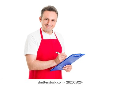 Friendly shop manager holding clipboard and ckecklist