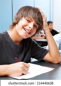 Friendly, smiling adolescent boy in school classroom.