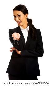 Friendly smiling businesswoman offering teamwork.