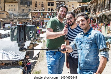 Friendly smiling of Iranian peoples offered to the tourists, Masuleh Village, Iran, 4/22/17.