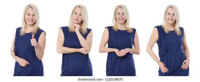 Friendly smiling middle aged woman in blue dress isolated on white background