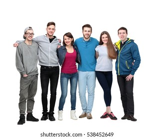friendly student team stood, arms around each other's shoulders